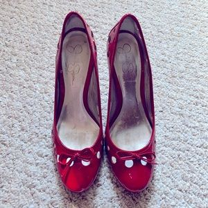Jessica Simpson Red Cut-Out Kitten Heels.